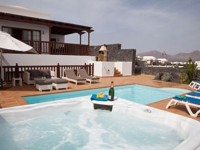 Photo for Luxury villa hot tub, private pool, pooltable, stunning sea views, lanzarote
