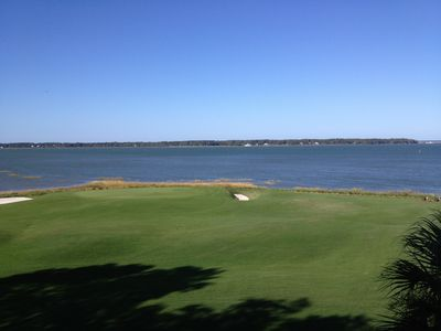 View from the porch- the 18th Green of the Harbour Town course