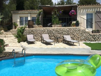 Photo for Mas with pool overlooking breathtaking Les Baux de Provence