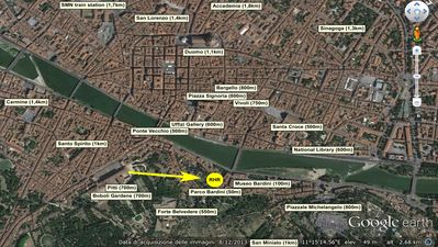 distances between apartment ('RHR') and main attractions in Florence