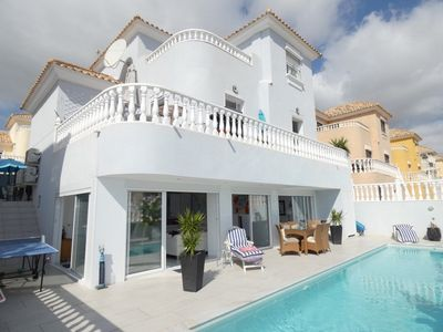 Photo for HEATED 11mPOOL -4 dbl bedroom, 2 rec. luxury villa+outside kitchen+3 golf course
