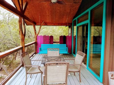 Porch with Creek View in Watermelon House