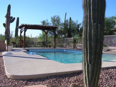 Pool is adjacent to casita with loungers for relaxing. Pool is not heated.