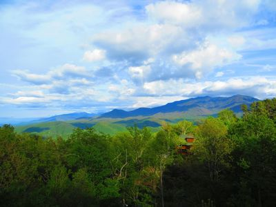 Gorgeous spring view of Mt. LeConte taken from the main deck of Cloudy Dreams.