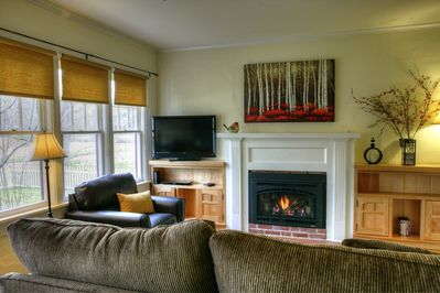 Comfortable furnishings, nice gas fireplace, and flat panel TV.