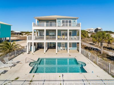 Photo for Gorgeous 6 bed, 6 bath gulf front home with a large private pool, 3 living rooms, 1 main kitchen and 2 mini kitchens (per level). Sleeps 20 guests comfortably.
