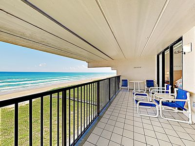 Photo for New Listing! Stylish Beachfront Haven: Indoor/Outdoor Pools, Spa, Sauna & Gym