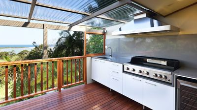 Great outdoor kitchen with glorious ocean views.