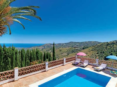 Photo for Simple family villa w/ Wi-Fi , pool, terrace + countryside views