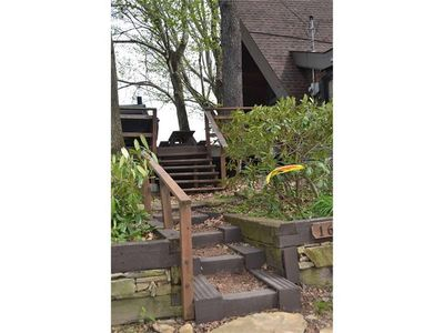 Stairs from driveway.