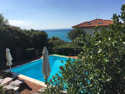 Photo for Villa Sorriso with views over the sea and to the islands of Elba, Corsica, Capraia