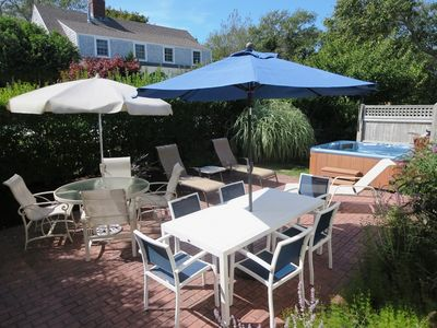 View of Private Backyard/Patio with Hot tub and outdoor shower - 201 Main Street Chatham Cape Cod New England Vacation Rentals