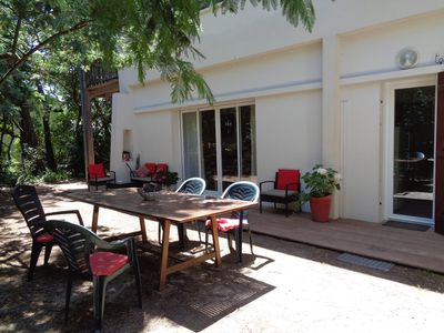 Photo for CAP-FERRET. INDEPENDENT APARTMENT ON LARGE WOOD GARDEN. 2 steps from the beaches