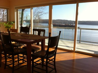 Unobstructed Hudson River views from the dining room; Seating for 8