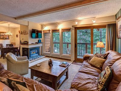 Photo for Riverfront condo w/shared pool and hot tub access! Walk to ski and town!