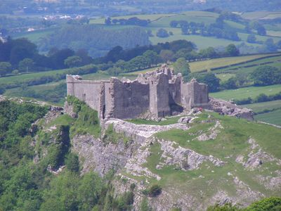 Carreg Cennen Castle. One of the most spectacularly sited in Wales.(12 miles)