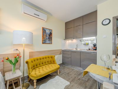 Photo for NEW FOR 2020: Bright, modern studio with balcony near Old Town and swimming