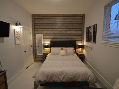 Custom wood slatted wall.