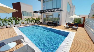 Photo for Amazing Luxury Villa with AC, Private Pool, Roof Terrace with Jacuzzi and only 200 m to the Beach!