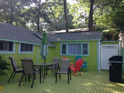 Large Outdoor Deck W/Otdr Shower behind white fence for when you come from beach