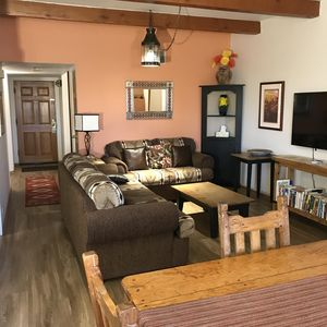 Living room with new floors throughout