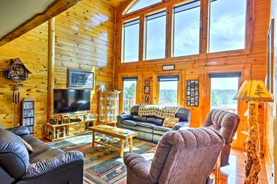 Experience sweeping landscape views in the 4-bed, 3-bath cabin.