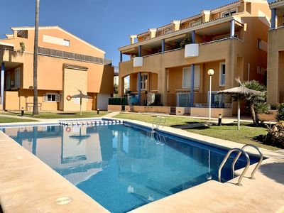 Photo for Modern, beautifully furnished, ground floor duplex apartment beside the pool.