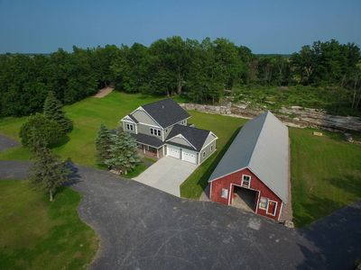Aerial view of the front of the house. Barn is not available to use.