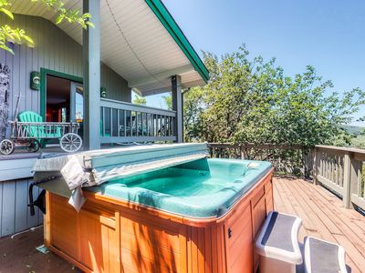 Photo for Large home w/ great view, hot tub, wrap-around deck & pool table - walk to lifts
