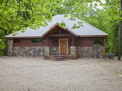Photo for New! Luxury Honeymoon Cabin-Located on Small Creek-Sunken Hot Tub, 2 Fireplaces