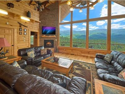 Photo for Ultra Private Cabin! 4400 sf AMAZING 180 Degree Mtn Views Hot Tub Theater Arcade