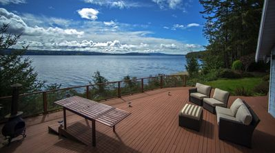 Massive deck with panoramic views of Hood Canal.