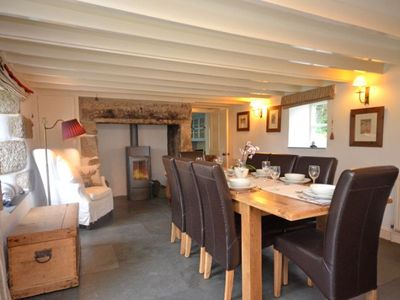 Constantine cottage rental - Dining area with woodburner and doors out onto the patio & 4 bedroom Cottage in Falmouth - NANYE - 1690927