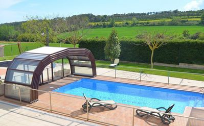 The pool can be covered, so you can still use it outside for the summer