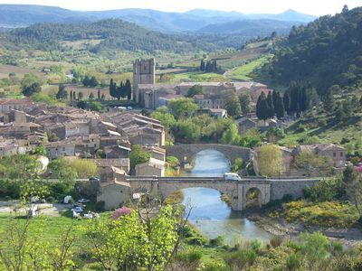 Photo for Holidays In Lagrasse. Ground floor studio set in walled garden with pool.