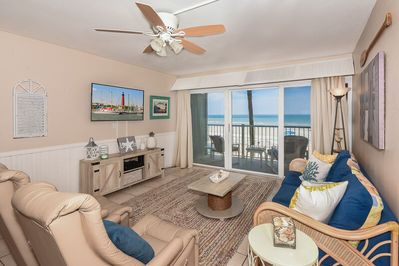 Ocean Club South A204 - Oceanfront 2 Bedroom 2 Bath - Beach Decor - Car  Free Beach - New Smyrna Beach