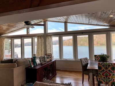 Looking out over the lake from the kitchen