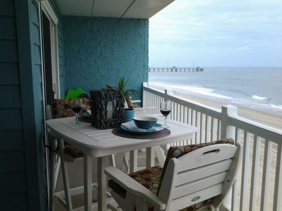 Large Oceanfront Balcony where you can dine, relax and watch the waves.