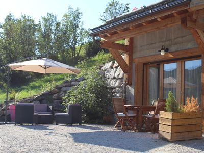 Photo for New and warm apartment in south facing chalet in Manigod