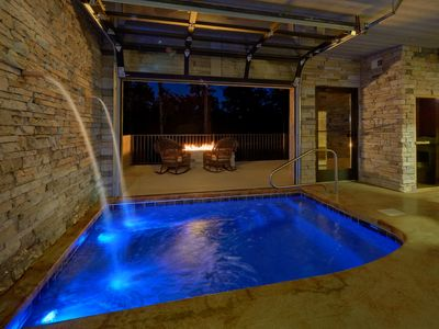 Photo for *** Brand New *** - Private Indoor Heated Pool, Outdoor Fireplace, Veranda