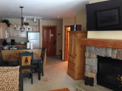 Just added, 47' LED flatscreen TV. Can be viewed from kitchen or family room.