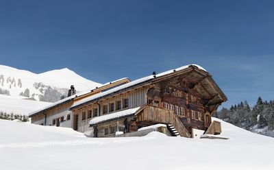 chalet front in winter
