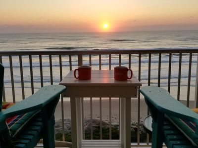Morning coffee with the sunrise