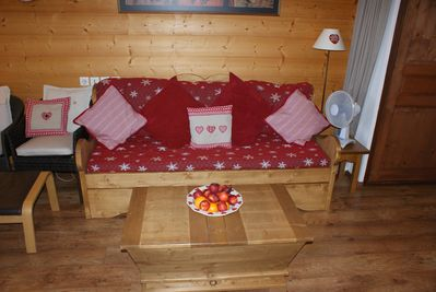 Bed settee in living room. converts to 2 full size single beds