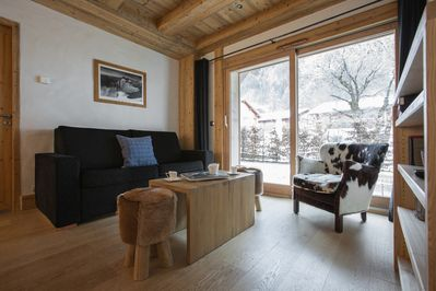 The open plan living area in Blaitiere 2 Apartment