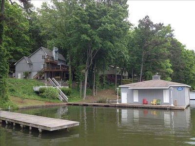 excellent ratings , one the lake with 2 slip boathouse , boat ramp 1/4 mile away