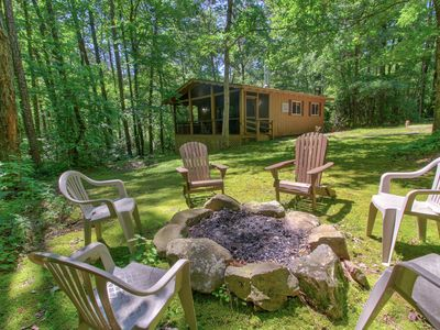 Photo for Woodland cabin w/ hot tub, firepit & screened porch - 2 small dogs welcome!