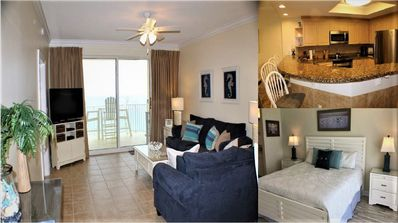 Combination View of Living Room-Patio, Kitchen, and Master Bedroom