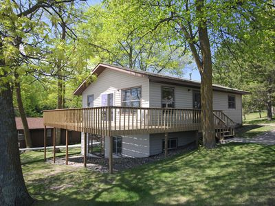 Photo for Leech Lake, MN Wrap Around Deck Overlooking the Beach and Heated Pool.
