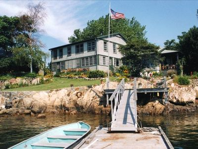 View of house from dock at high tide.